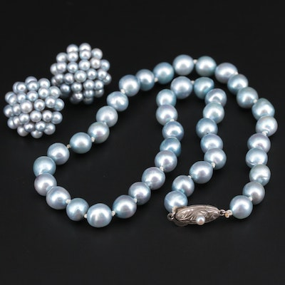 Cultured Pearl Necklace and Screw Back Earrings Set