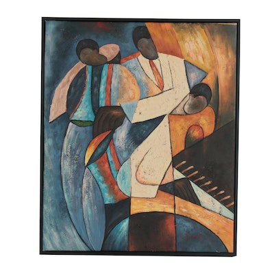 Jean Fini Modernist Acrylic Painting with Figures