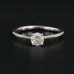 14K White Gold Diamond Tapered Ring