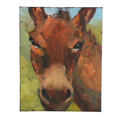 Elle Raines Acrylic Painting of Donkey