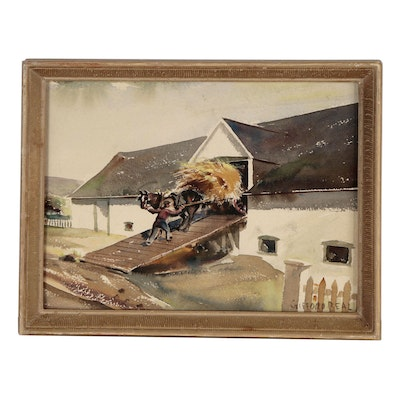 Gifford Beal Watercolor Painting of Rural Genre Scene, Early 20th Century