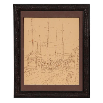 Stanley Bielecky Ink Drawing of Figural Harbor Scene, Early 20th Century