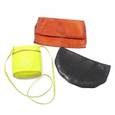 Carlos Falchi Leather Crossbody with Other Leather Clutch and Embossed Portfolio