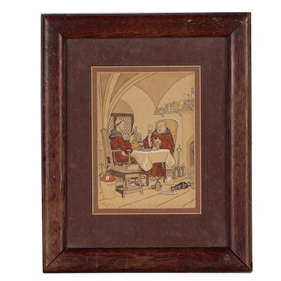 Harry Elliott Ink and Watercolor Illustration of Dining Monks