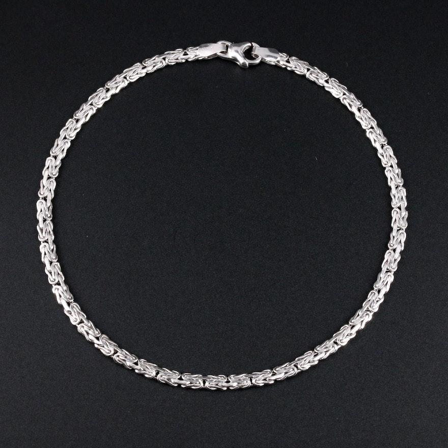 14K White Gold Byzatine Chain Ankle Bracelet