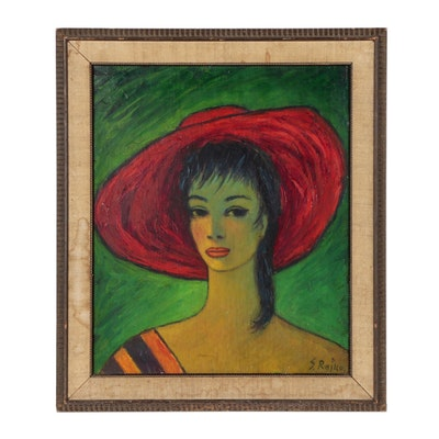 Figure Oil Painting of Woman in Red Hat, Mid 20th Century