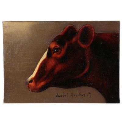 David Andrews Cow Portrait Oil Painting, 2019