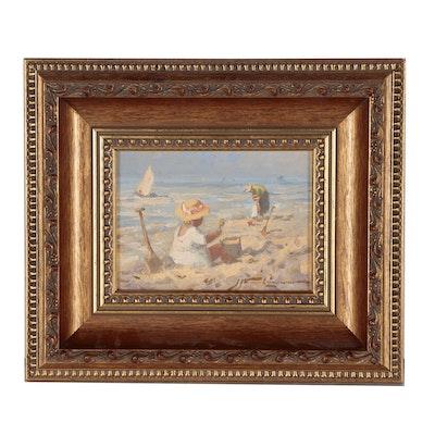 J.J. Hendrikus Van Leeuwen Oil Painting of Figural Beach Scene