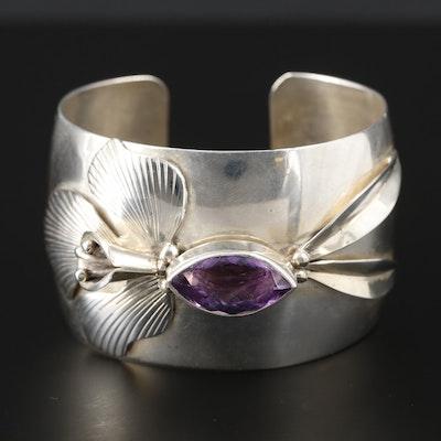 L. Secatero Sterling Silver Amethyst Cuff Bracelet