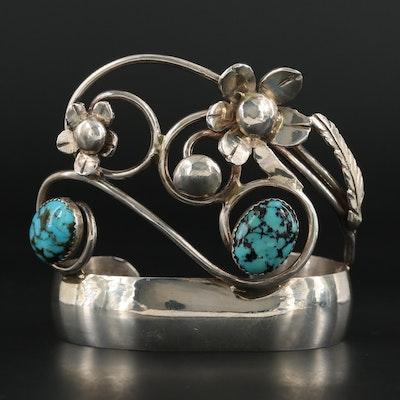 Bill Kirkham Southwestern Style Turquoise Floral Cuff Bracelet