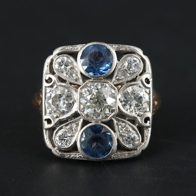 Edwardian 14K Yellow Gold and Platinum 1.47 CTW Diamond and Sapphire Ring
