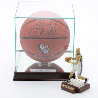 Jason Kidd Signed Basketball with a Salvino Figure