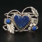 Bill Kirkham Southwestern Sterling Silver Lapis Lazuli Heart Cuff Bracelet