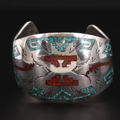 Southwestern Style Sterling Silver Chip Turquoise and Coral Cuff Bracelet