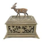 Reproduction Victorian Style Cast Metal Jewelry Casket with Birds and Stag