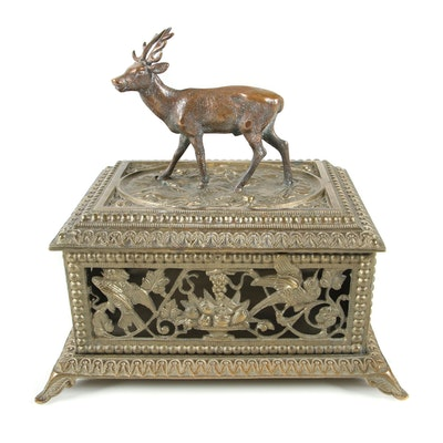 Victorian Style Cast Metal Jewelry Casket with Birds and Stag, 20th Century