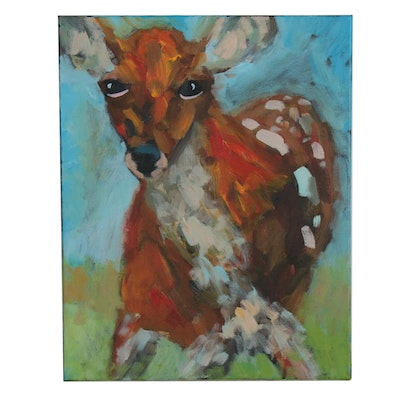 Elle Raines Acrylic Painting of Deer
