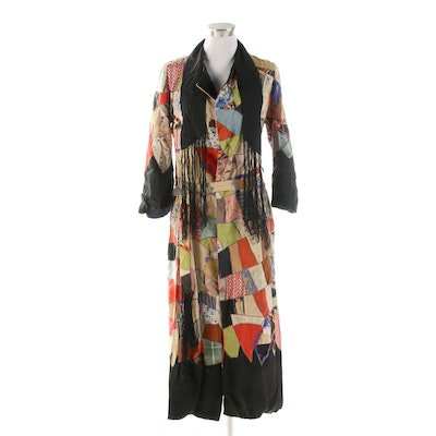 Patchwork and Antique Silk Duster with Fringe and Matching Belt, 1920s Vintage