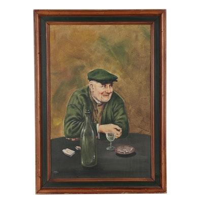 H. B. Harn Acrylic Portrait Painting of Elderly Man, 1967