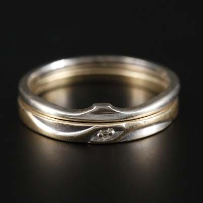 10K Yellow Gold Diamond Ring with 10K White Gold Ring