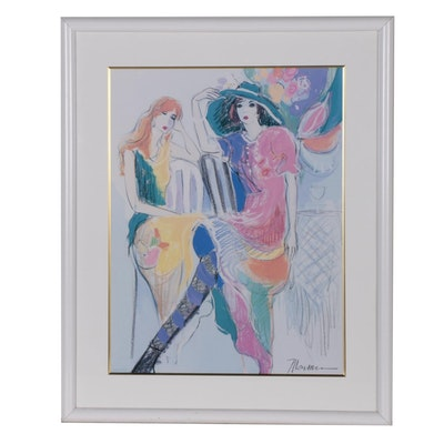 Offset Lithograph after Isaac Maimon of Two Seated Women