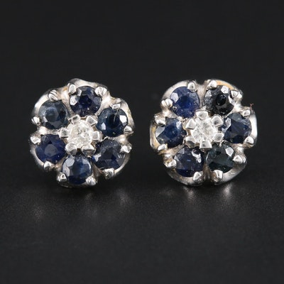 14K White Gold Sapphire and Diamond Button Earrings