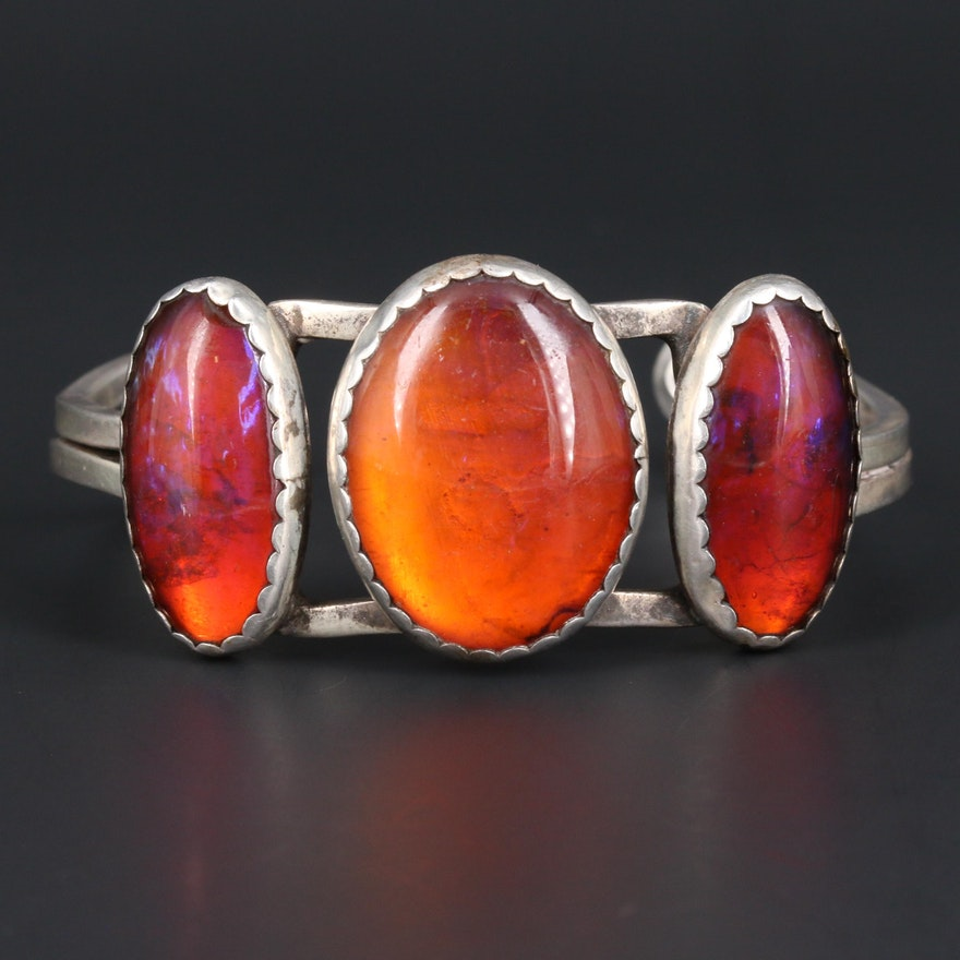 Sterling Silver Dragon's Breath Glass Cuff Bracelet