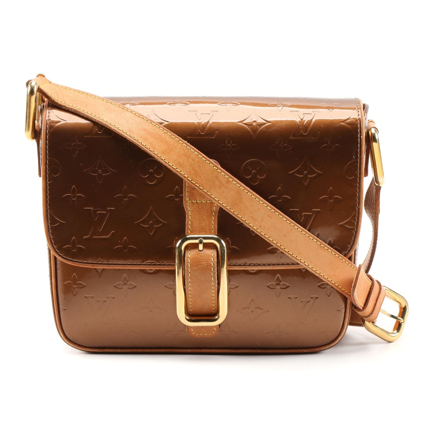 Louis Vuitton Christie GM Messenger Bag in Bronze Monogram Vernis and Leather
