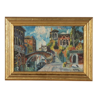 Ed Woerner Oil Painting of Figural Street Scene, Mid 20th Century