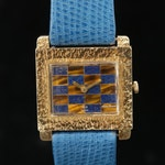 Lucien Piccard 14K Gold Stem Wind Wristwatch With Enamel Dial, Vintage
