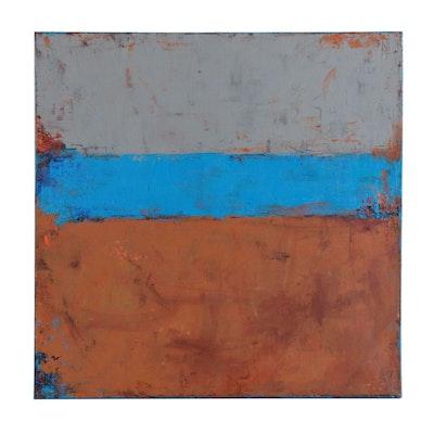 "Sanna Abstract Acrylic Painting ""Autumn Gold"", 2019"