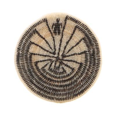 "Ruby Thomas Tohono O'odham ""Man in the Maze"" Horse Hair Basket, 1999"