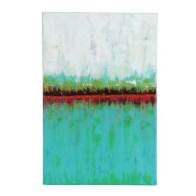 "Sanna Abstract Acrylic Painting ""Sea of Green"""