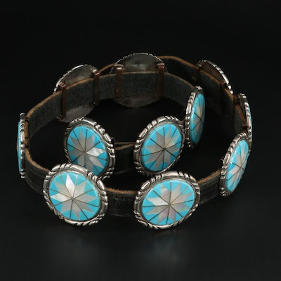 Sterling Silver, Mother-of-Pearl and Turquoise Inlay Concho Leather Belt