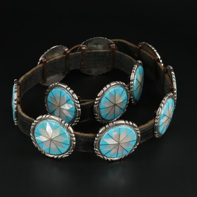 Sterling Silver, Mother of Pearl and Turquoise Inlay Leather Concho Belt