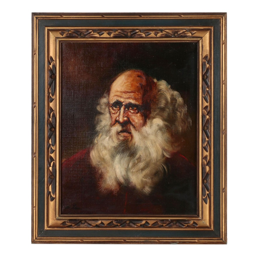 Oil Portrait Painting of Venerable Bearded Man