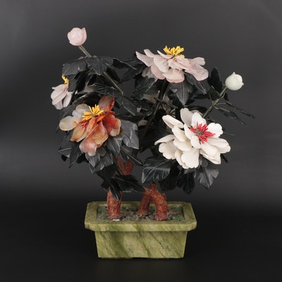 Chinese Carved Stone Floral Display with Serpentine Base