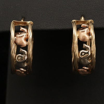 14K Yellow, White, Rose Gold Elephant Motif Hoop Earrings