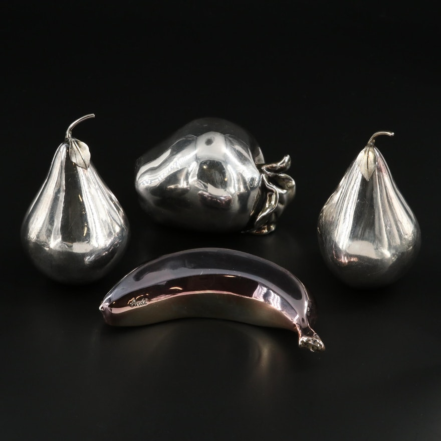 Weighted Sterling Silver and Silver Tone Metal Fruit Figurines