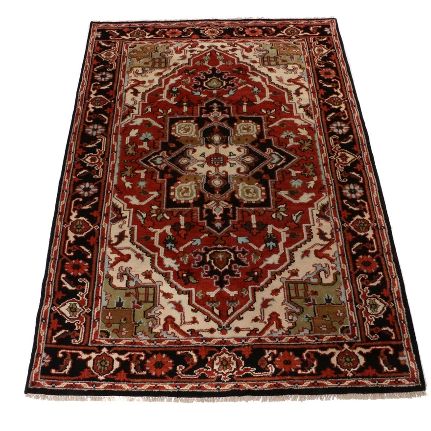 6'1 x 9'2 Hand-Knotted Indo-Persian Heriz Rug, 2010s