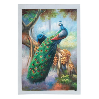 Oil Painting of Peacocks in Forested Landscape