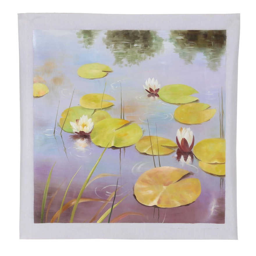 Landscape Oil Painting of Water Lilies
