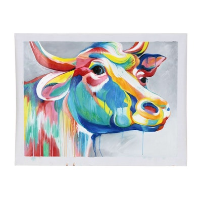 Oil Painting of Colorful Cow