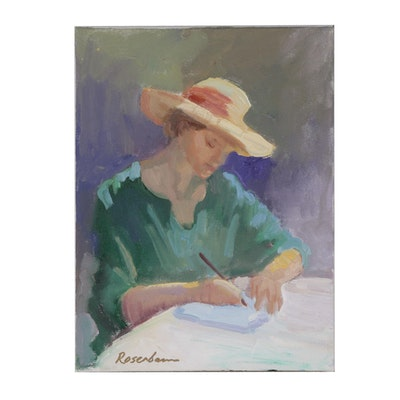 Sally Rosenbaum Oil Painting of Woman Writing