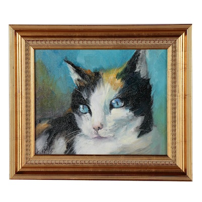 Patricia Kness Oil Painting of a Cat