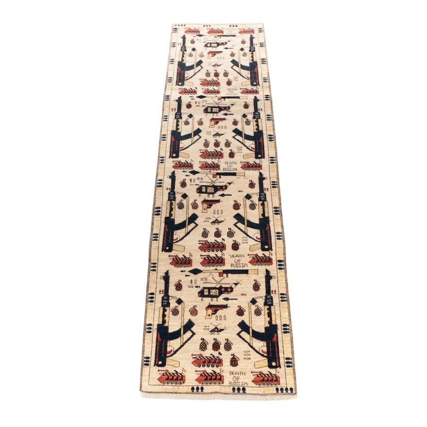 3'2 x 12'10 Hand-Knotted Afghani Wool War Long Rug