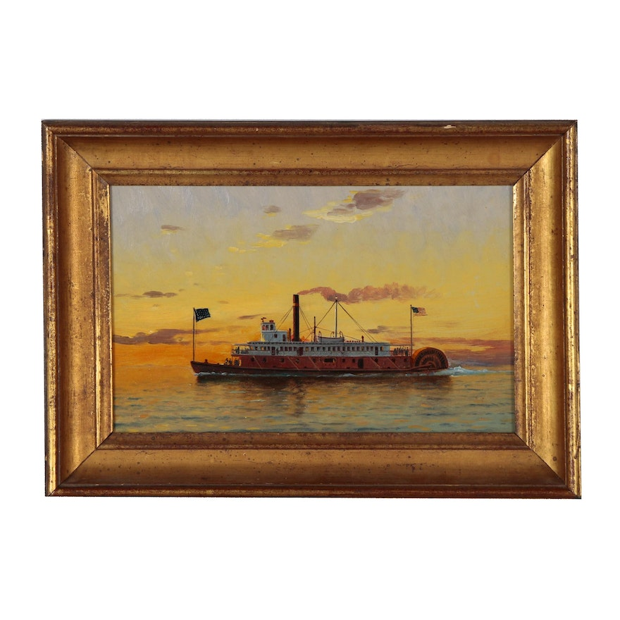 """Steamboat Oil Painting """"Lurline 1878"""", Late 19th Century"""