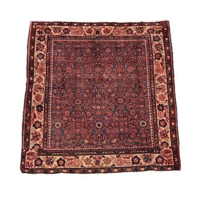 4'7 x 5'0 Hand-Knotted Persian Hamadon Wool Rug