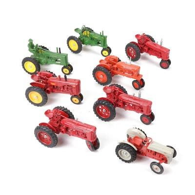 ERTL Diecast Metal Farm Tractors Including John Deere and Ford