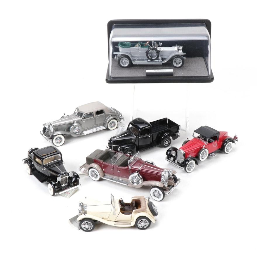 Franklin Mint Diecast Model Cars Including Rolls-Royce and Jaguar